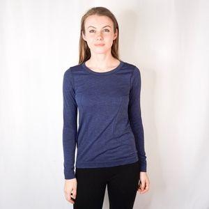 Lululemon Heather Blue Long Sleeve Workout Top 955